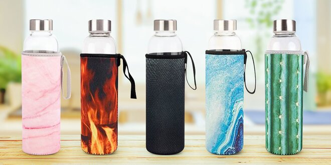 Sklenená fľaša na vodu v neoprénovom obale
