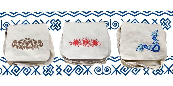 Prírodné bavlnené tašky s ľudovou výšivkou