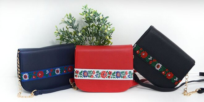 Dámske kabelky s ľudovým motívom: 3 farby