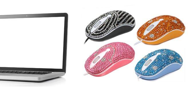Štýlové PC myši vykladané kryštálikmi
