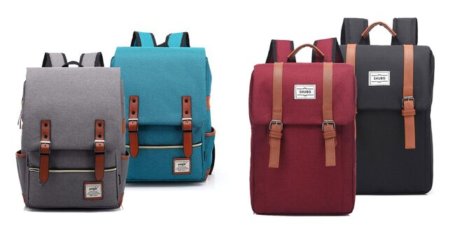 Trendy retro alebo vintage batohy: rôzne farby