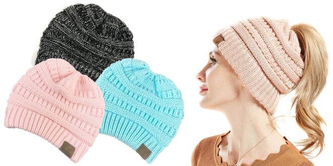 Pletená čiapka s otvorom pre cop v 9 farbách