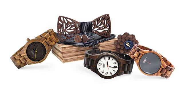 Drevené hodinky TIMEWOOD s motýlikom a gombíkmi