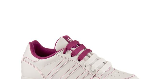 d038e3eaf9e41 Dámske biele kožené tenisky Adidas s ružovými detailmi | Zlavomat.sk