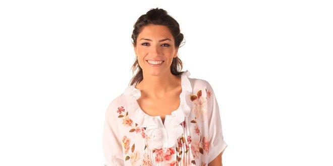 476ef1eac9ab Dámske biele vzdušné šaty s ružičkami a volánikmi Caniche