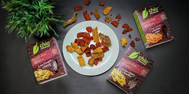 Bezlepkové vegánske chipsy s chia semienkami: 3 druhy