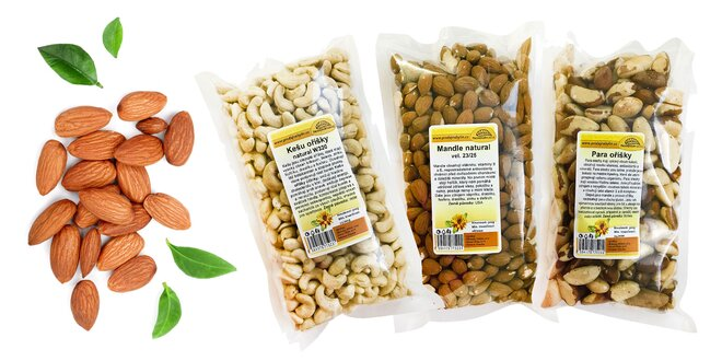Polkilové balenia orechov: para, kešu, mandle