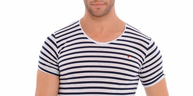 f636fa467069 Pánske modro-biele pruhované tričko Wessi