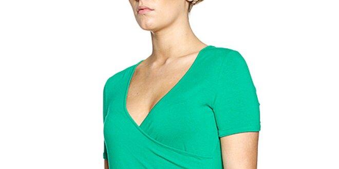 Dámsky zelený top s véčkovým výstrihom Fever