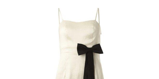 Dámske slonovinové šaty s čiernou mašľou Fever