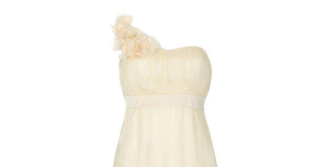 Dámske slonovinové party šaty na jedno rameno Fever