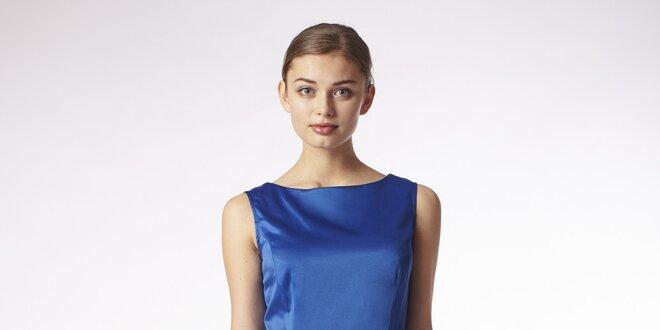 9c9c08081c Dámske lesklé modré šaty so skladanou sukňou Emploi