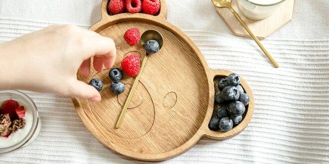 Detské drevené tanieriky v tvare zvieratiek