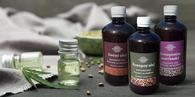 Konopný, ľanový alebo pestrecový panenský olej