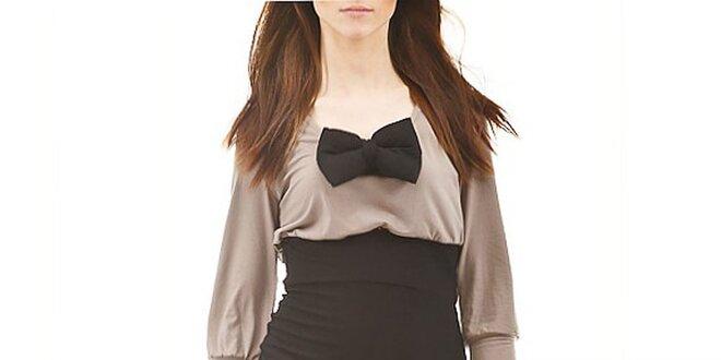 Dámske čierno-hnedé šaty s motýľkom Yuliya Babich