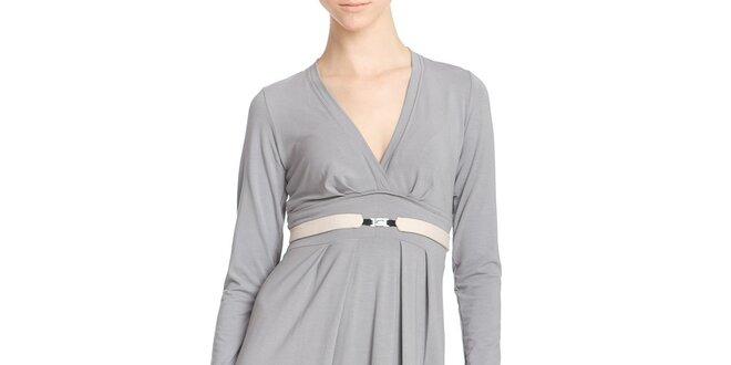 Dámske šedé šaty s opaskom Yuliya Babich