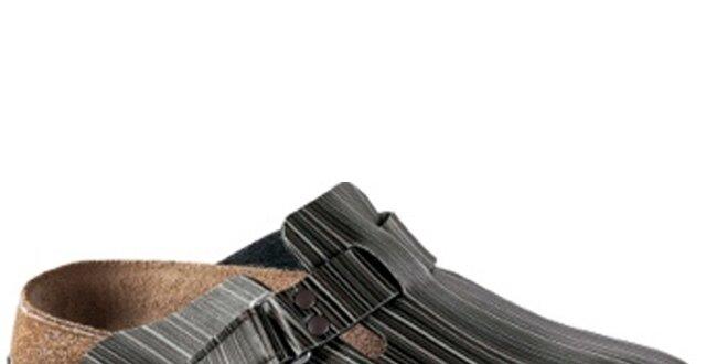 Dámske hnedo-šedé pruhované šľapky Alpro