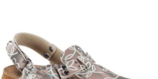 Dámske hnedé sandále s kvetinovým vzorom Alpro