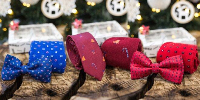 Zimný set: veselé ponožky a motýlik či kravata