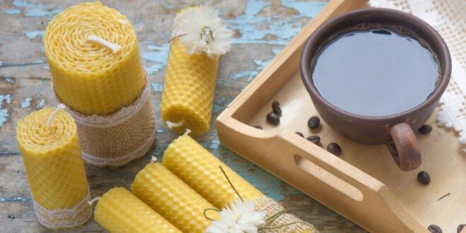 Krásne sety točených sviečok z včelieho vosku
