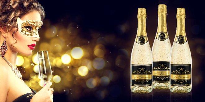 Šumivé víno Chardonnay s 23-karátovým zlatom