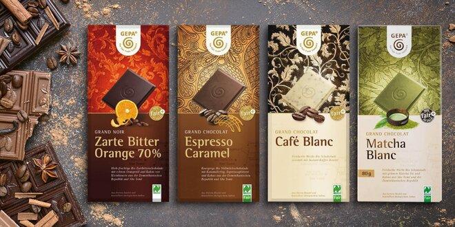 Dvojbalenia fair trade BIO čokolády s matchou i pomarančom