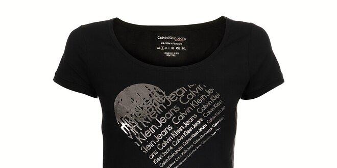 9f2db174d Dámske čierne tričko Calvin Klein so striebornou potlačou   Zlavomat.sk