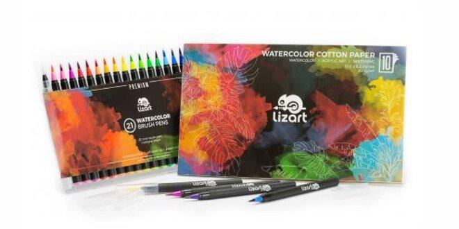 Sada farebných štetcových pier pre šikovných umelcov