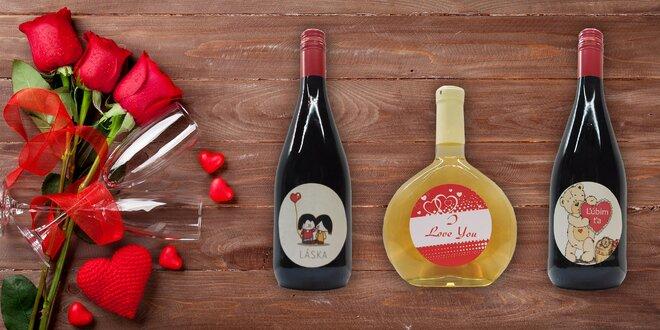 Balenia ovocných vín s valentínskou etiketou