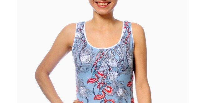 Dámske svetlo modré šaty s pavími perami Smash