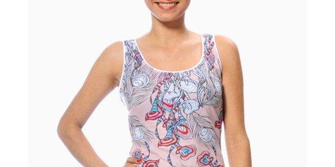 Dámske svetlo ružové šaty s pavími perami Smash