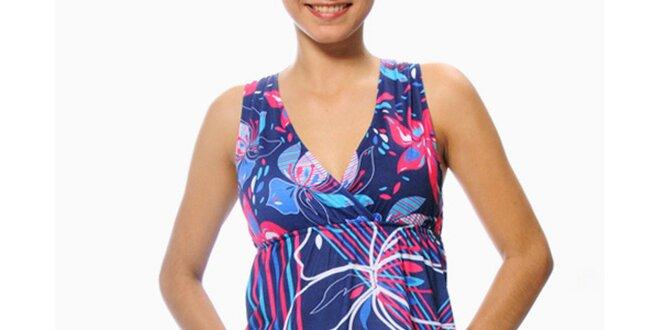 Dámske modro-fuchsiové šaty s kvetinami Smash