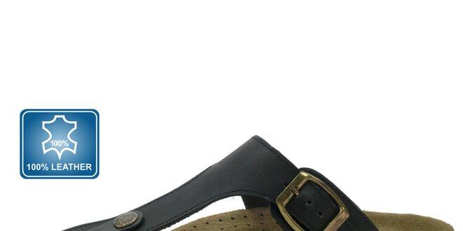 Dámske čierne kožené šľapky Beppi