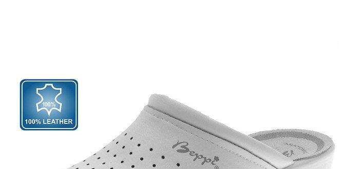 07e7997a1bef Dámske biele šľapky s plnou špičkou Beppi