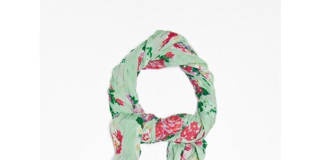 Dámska svetlo zelená šatka s kvetinkovým vzorom Bella Rosa  c5e178c126