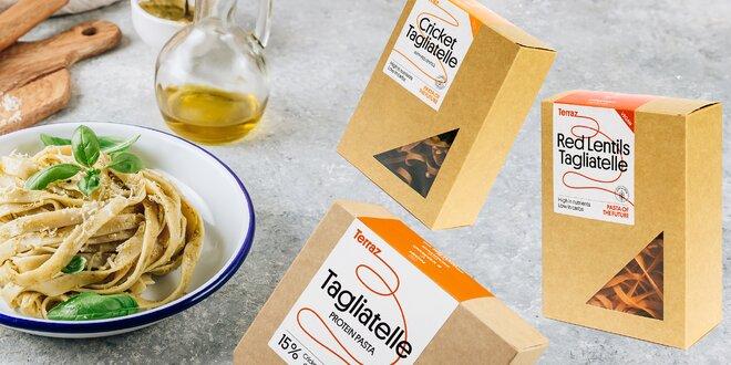 Cestovinové balíčky Terraz: vegánske či z cvrčkovej múky