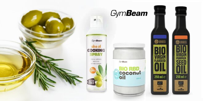 Oleje a spreje od GymBeam: na teplú aj studenú kuchyňu
