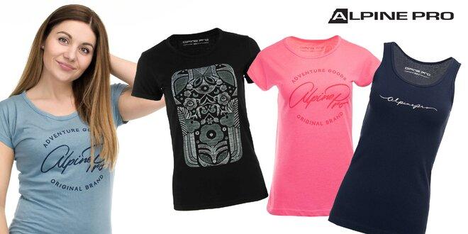 Štýlové dámske tričká a tielká Alpine Pro s potlačou