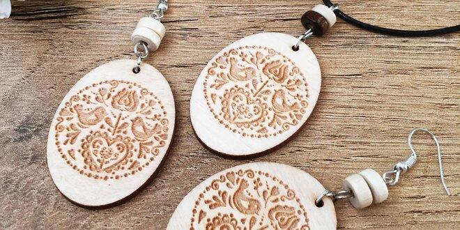 Sady drevených šperkov s vypáleným folklórnym vzorom
