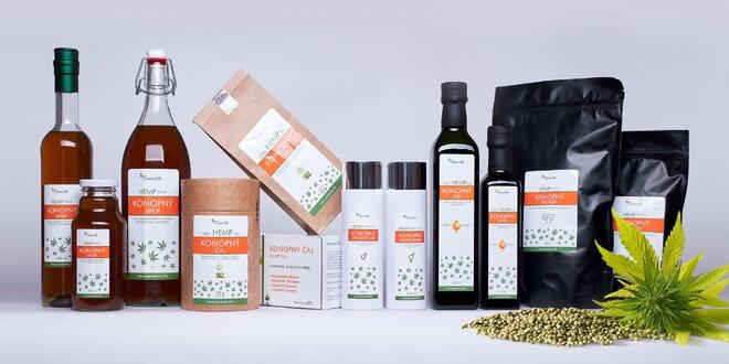 Konopný čaj, sirup, olej, proteín alebo cestoviny