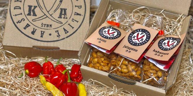 Balíčky pálivých arašidov: chilli, habanero či jalapeño