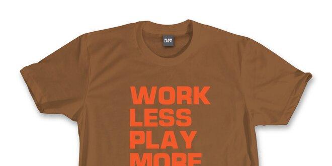 9b1d793c3613 Pánske gaštanovo hnedé tričko s vtipnou potlačou Plain Lazy ...