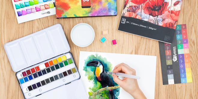 Nádherná sada akvarelových farieb a A4 maliarsky blok