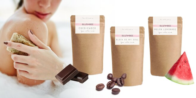 Kávový peeling Bloombee na telo i tvár – rôzne vône