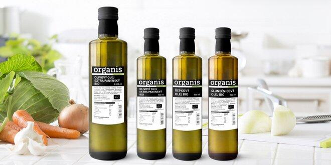 100% bio olivové, slnečnicové a repkové oleje