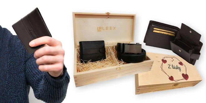 Pánsky darčekový set Leex: kožená peňaženka + opasok