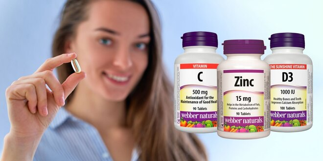 Balíček vitamínov Webber Naturals: C, D a Zinok