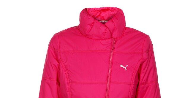 7312930c3cdf2 Dámska neónovo ružová zimná prešívaná bunda Puma so šikmým zipsom ...