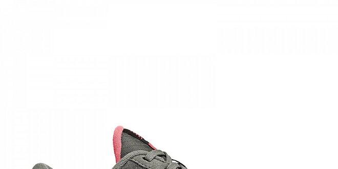 Dámske šedé fitness tenisky New Balance s ružovými detailami