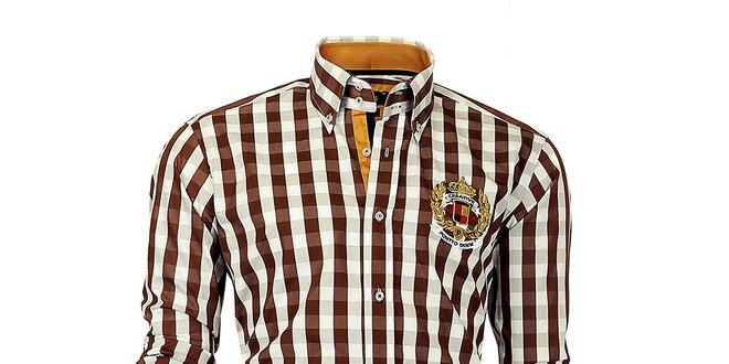 Pánska hnedo-biela kockovaná košeľa Pontto